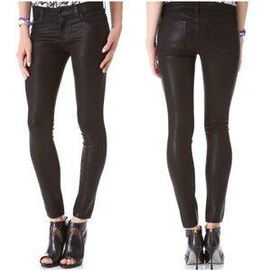 J BRAND Super Skinny Lacquered Black Stretch Jeans